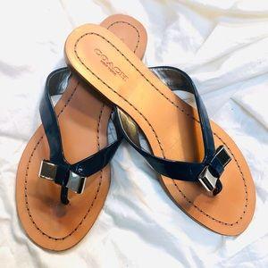 Coach navy flip flops